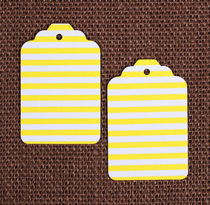 Yellow Gift Tags: Stripe | www.bakerspartyshop.com