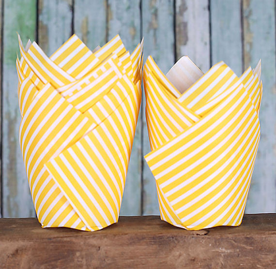 Yellow Tulip Cupcake Wrappers: Stripe | www.bakerspartyshop.com