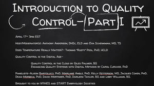Session 6: Introduction to Quality Control - Part I