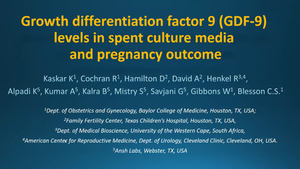 Growth Differentiation Factor 9 (GDF-9) levels in spent culture media and pregnancy outcome