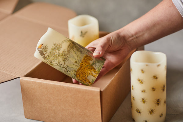 Gift box of handcrafted decorative LED candles