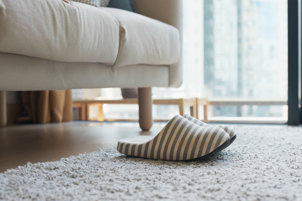 slippers on rug under sofa