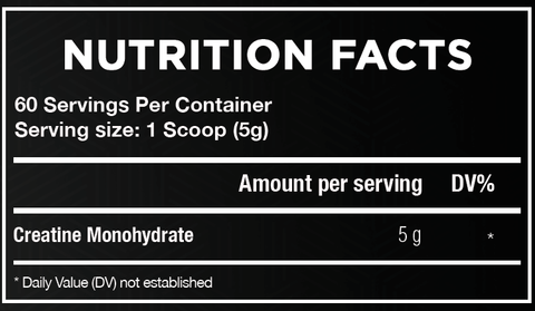 Creatine Monohydrate Nutrition facts