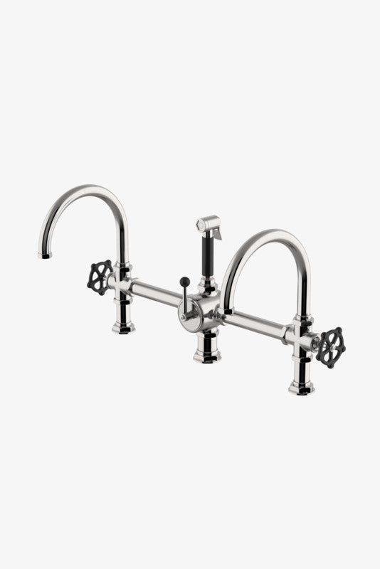 Waterworks RGKM50 Regulator Gooseneck Double Spout Marquee Kitchen Faucet, Black Wheel Handles and Spray