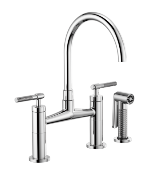 Brizo 62543LF Litze Bridge Faucet with Arc Spout and Knurled Handle
