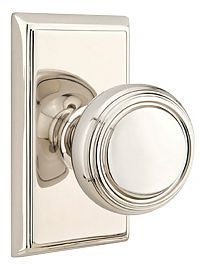 *Clearance* Emtek Norwood Privacy Knob with Rectangular Rosette , Polished Nickel