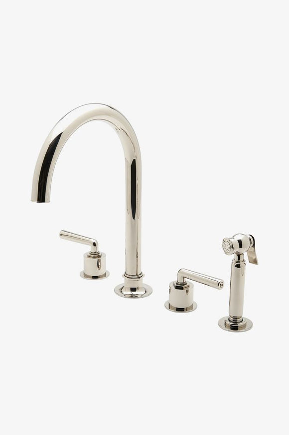 Waterworks HNKM30 Henry Three Hole Gooseneck Kitchen Faucet, Metal Lever Handles and Spray