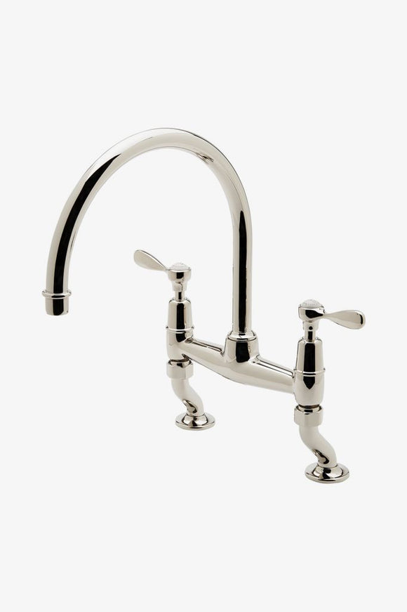 Waterworks EAKM02 Easton Classic Two Hole Bridge Gooseneck Kitchen Faucet, Metal Lever Handles