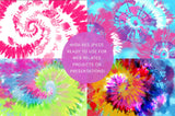 8 Neon Tie-Dye Spiral Backgrounds