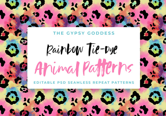 Seamless Rainbow Tie-Dye Animal Patterns