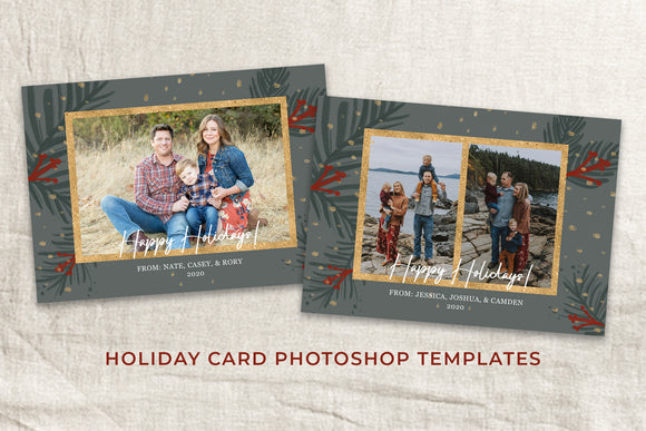 4 Holiday Card Photoshop Templates