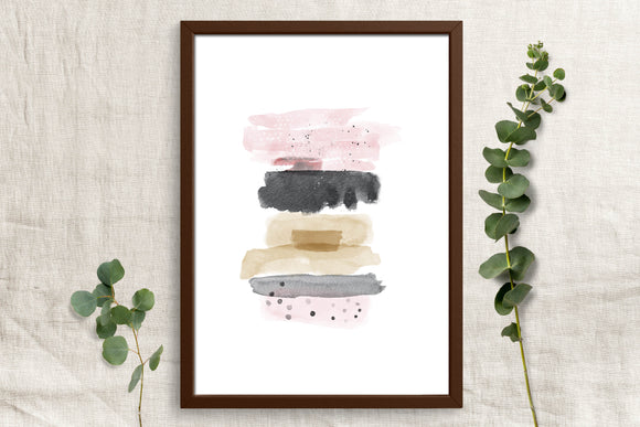 Watercolor Pink and Black - Printable