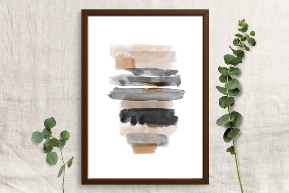 Watercolor Neutral and Black - Printable