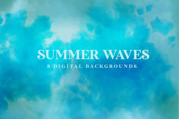 Summer Waves Digital Papers | Backgrounds