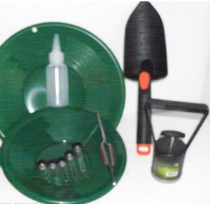 "Green 10"" & 8"" Gold Pans & Gold Pan Panning Kit"