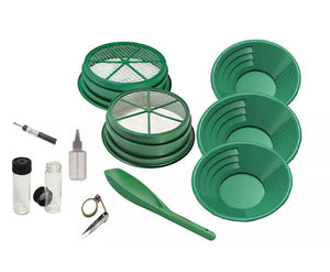 "PM10 11pc Green Large Gold 1/4"" & 1/8"" Classifier Screen & Gold Pan Panning Kit"