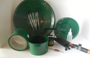 "M11 Green Mini Gold Classifier Screen & Gold Pan Panning Kit 14"" & 12"" Pans! FREE Digiweigh Pocket Scale 1000G x o.1g"