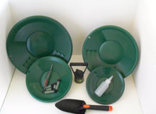 Load image into Gallery viewer, SE L2 Green Gold Pan Panning Kit ! Pans Magnet, Vials, Sniffer, Tweezer & Trowel