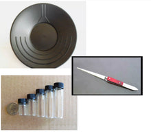 "Load image into Gallery viewer, 10"" & 14"" BLACK GOLD PANS , BLACK SAND SEPARATER MAGNET, TWEEZERS AND 5 VIALS"