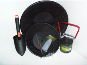 "10"" & 14"" BLACK GOLD PANS , BLACK SAND SEPARATER MAGNET, TWEEZERS AND 5 VIALS"