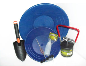 "10"" & 14"" BLUE GOLD PANS , BLACK SAND SEPARATER MAGNET, TWEEZERS AND 5 VIALS"