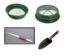 Load image into Gallery viewer, GREEN SUPER DELUXE GOLD PANNING KIT - Classifier, Pan, Tweezer, Vial, Magnet ect