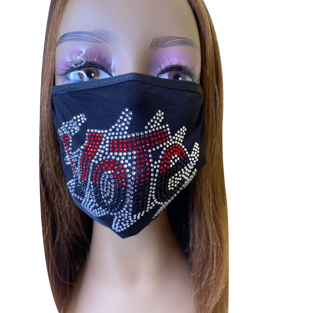 VOTE Rhinestone Bling Face Mask With Filter Pocket Red Black