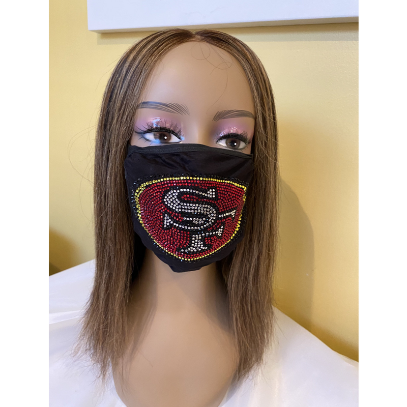 San Francisco 49ers Bling Face Mask Front Logo | Simply For Us