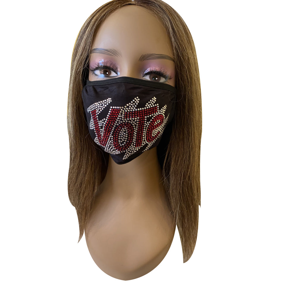 VOTE Bling Rhinestone Face Mask With Filter Pocket Red