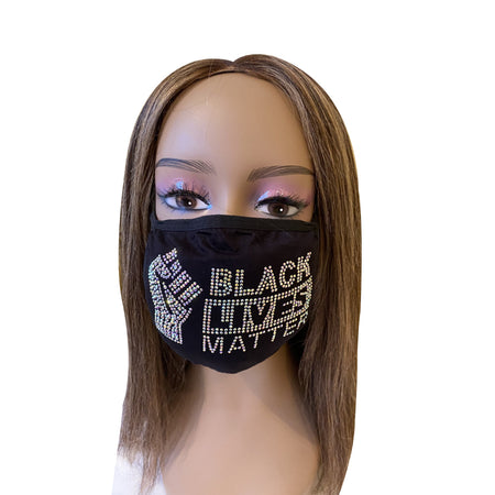 Black Lives Matter Mask with Fist AB Color Crystals Front Logo