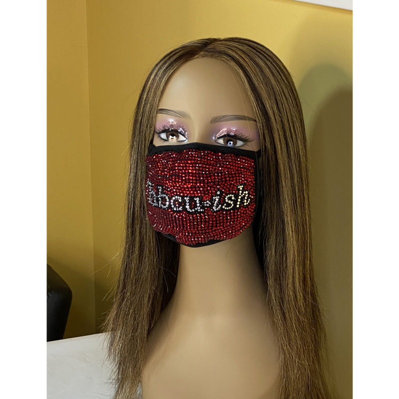 HBCU-ish Bling Face Mask Red | Simply For Us