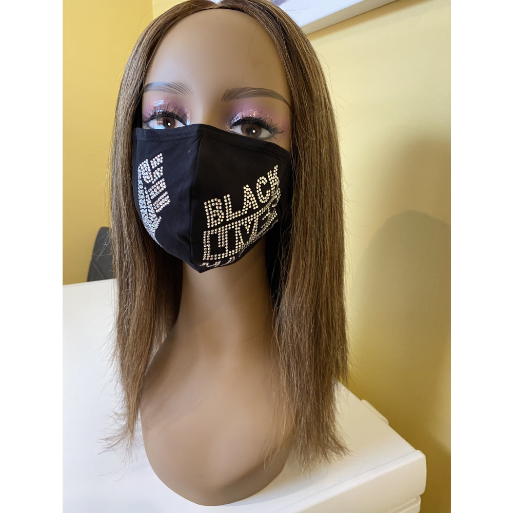 Black Lives Matter Mask with Fist Crystal Adjustable Ear Loops