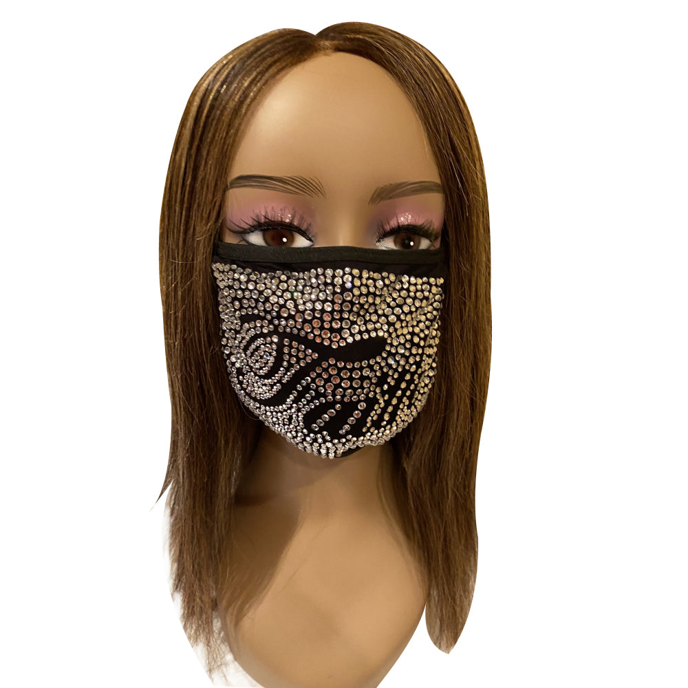 Faith Crystal Color Full Rhinestone Face Mask