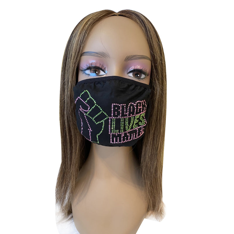 Black Lives Matter Mask Pink and Green
