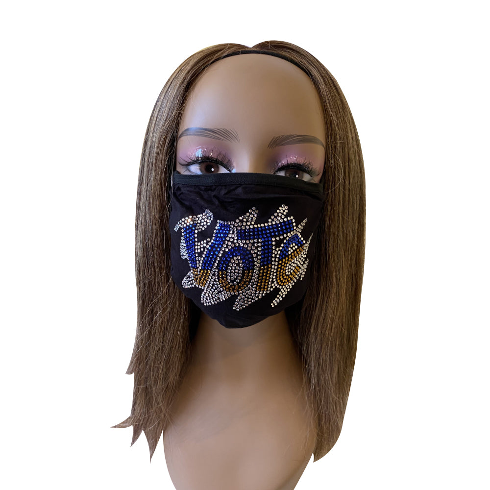 VOTE Rhinestone Bling Face Mask With Filter Pocket  Gold and Blue