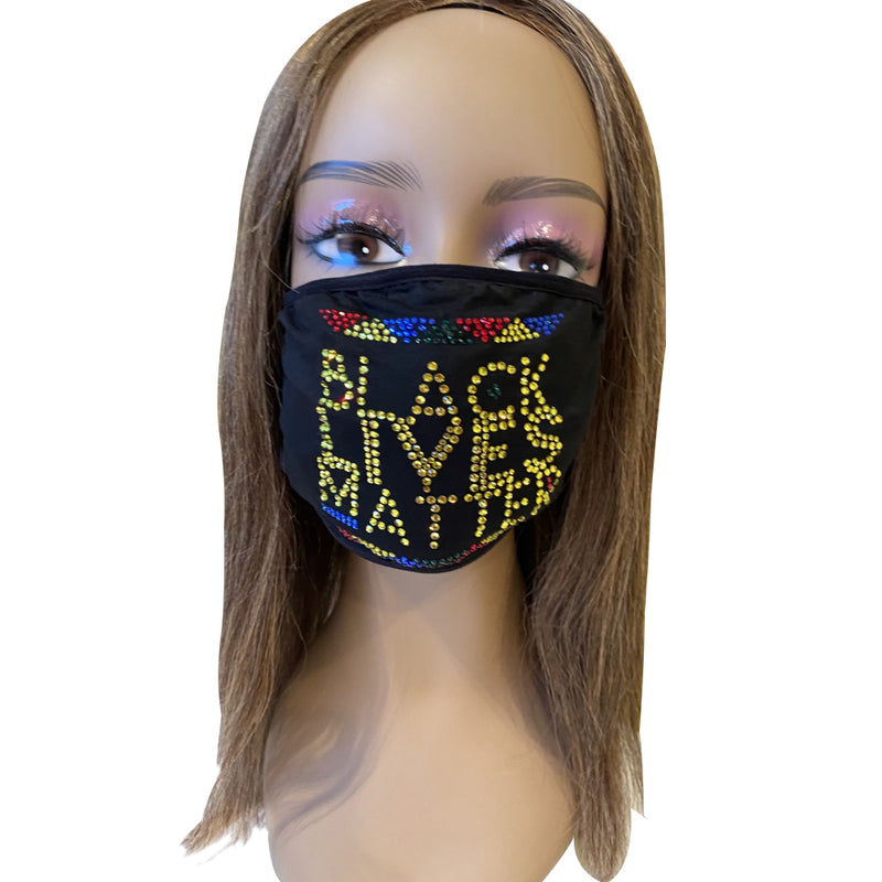 Black Lives Matter Bling Multicolor Face Mask