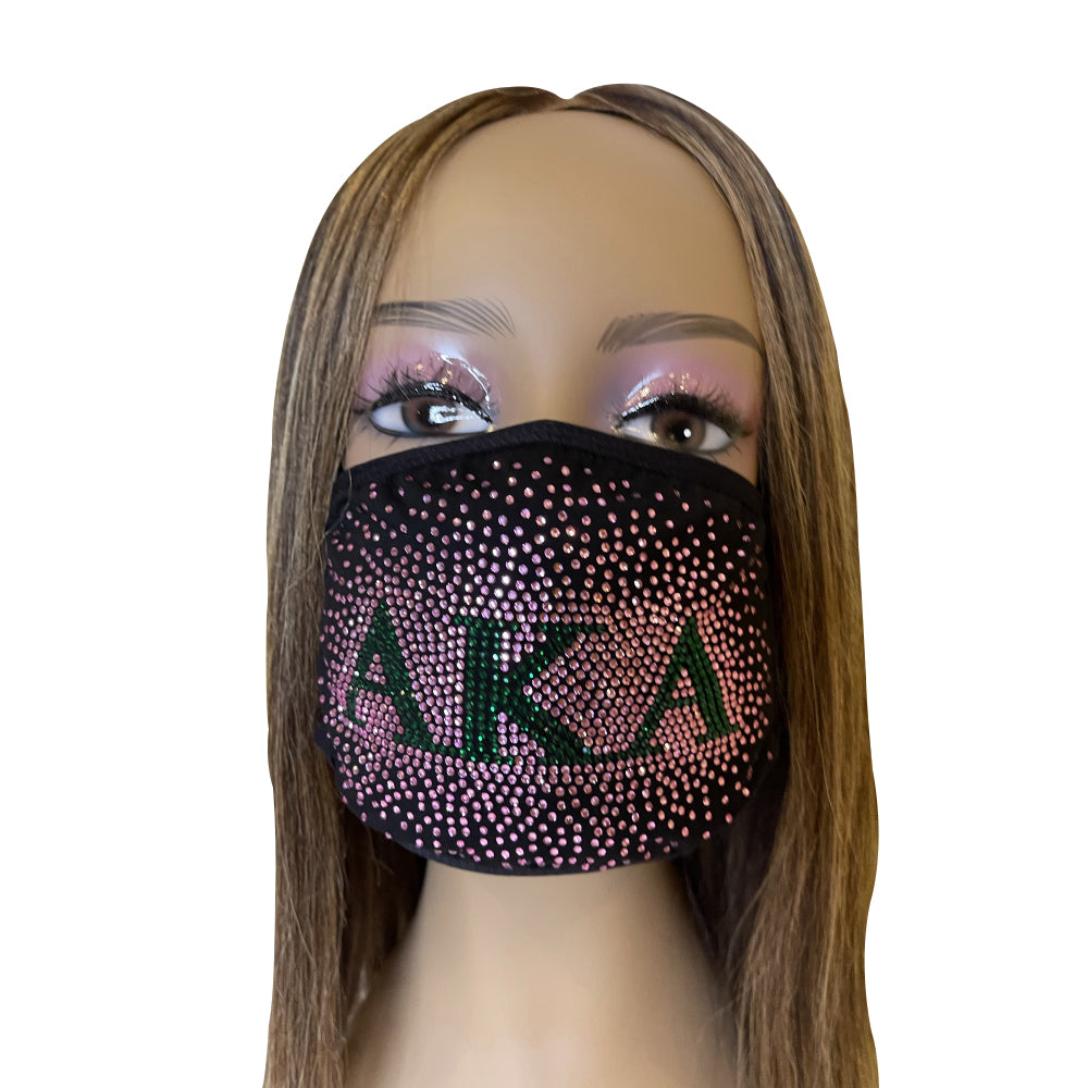 Alpha Kappa Alpha Sprinkled Bling Face Mask