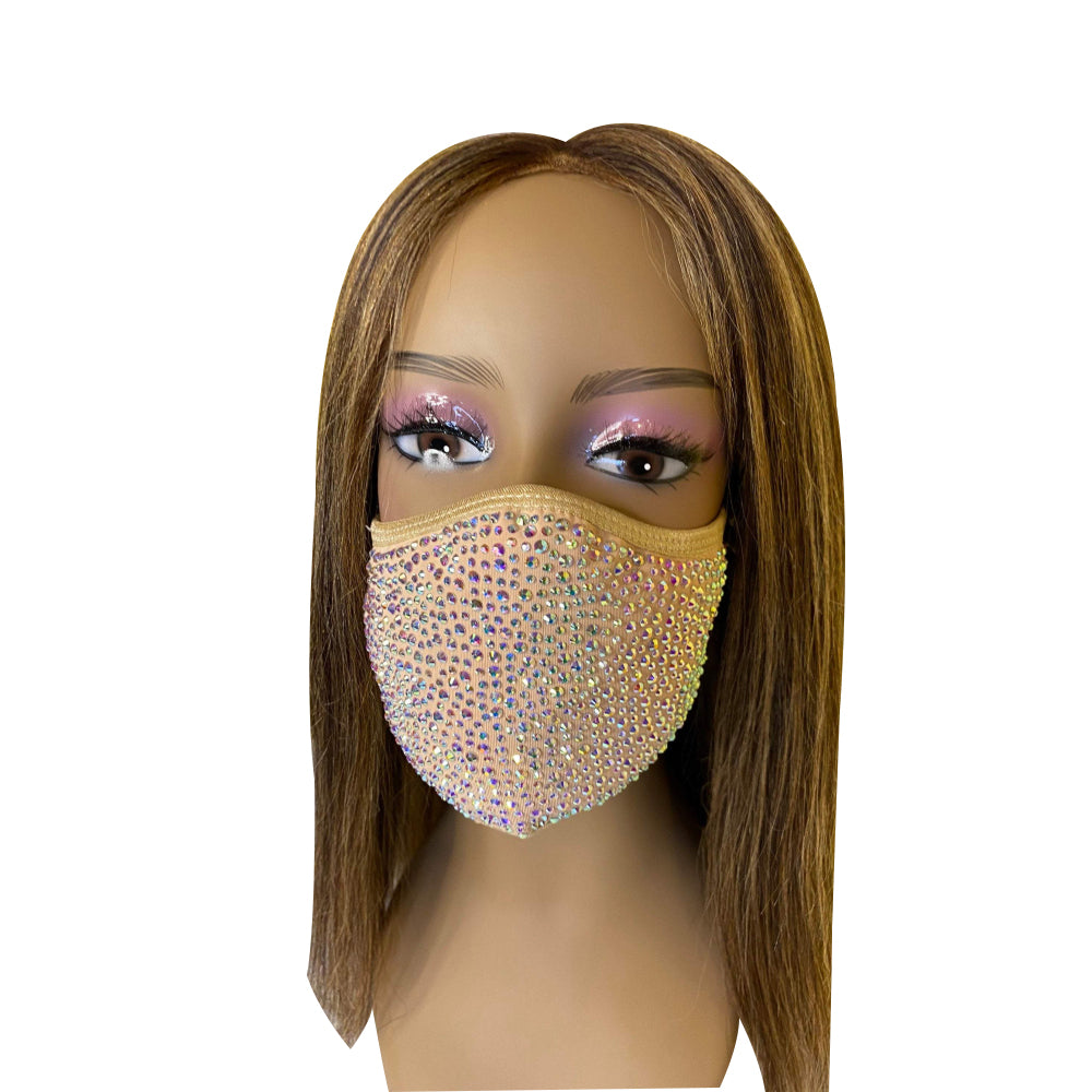 New Nude with AB Crystal Bling Face Mask