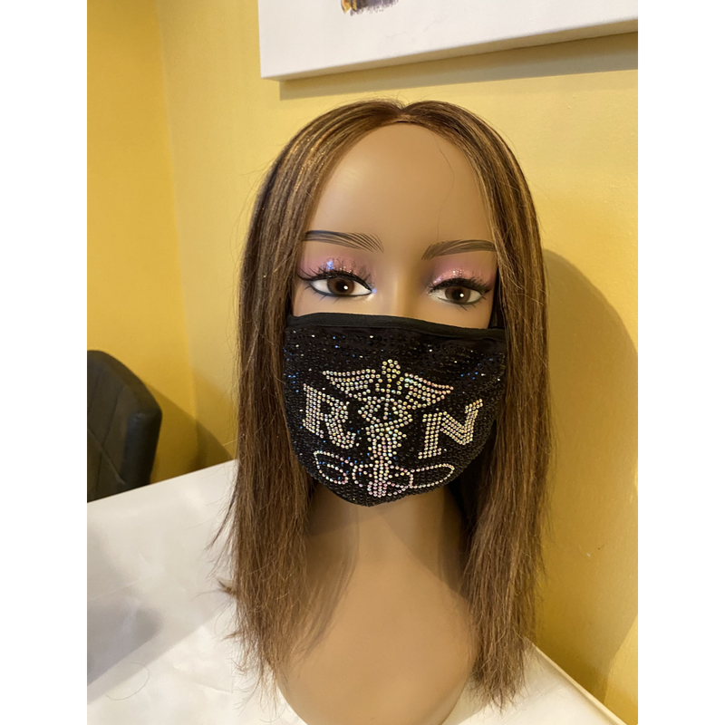 Nurse Caduceus with AB Crystals Bling Face Mask | Simply For Us