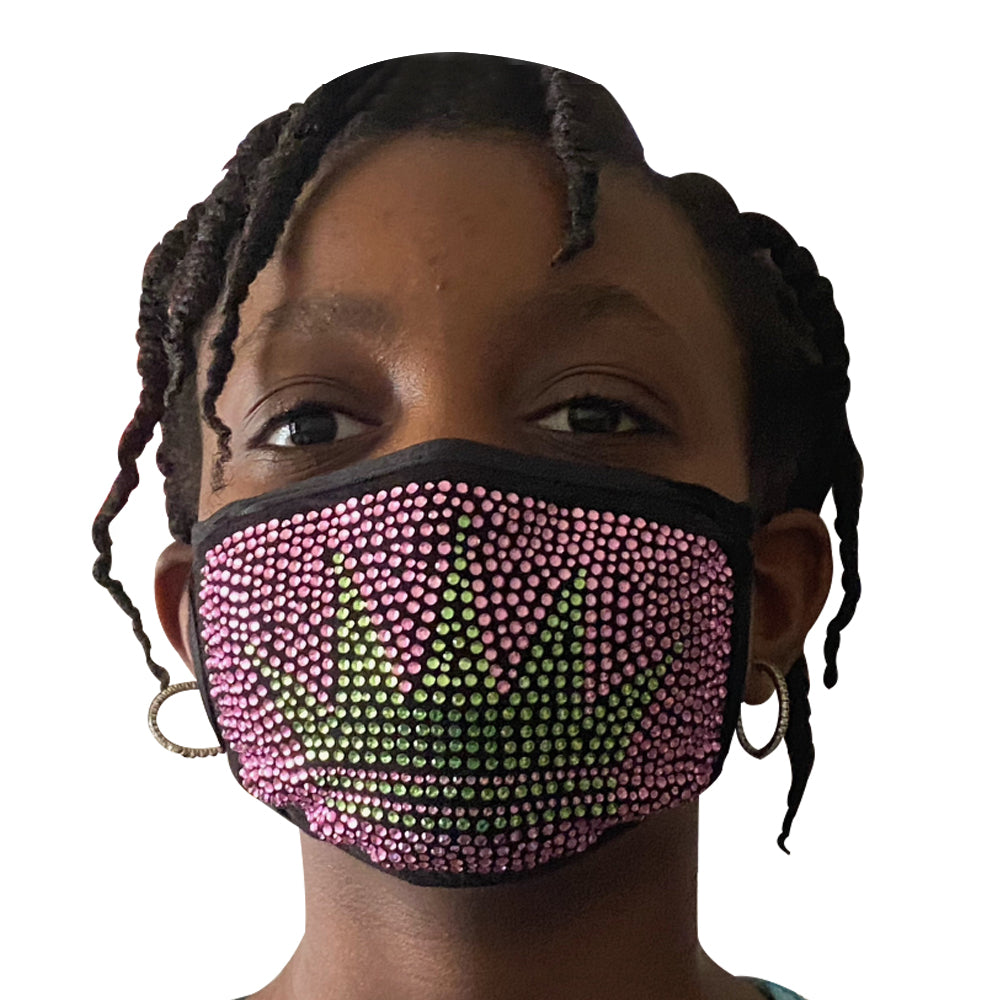 Children's Princess Bling Mask Pink and Green