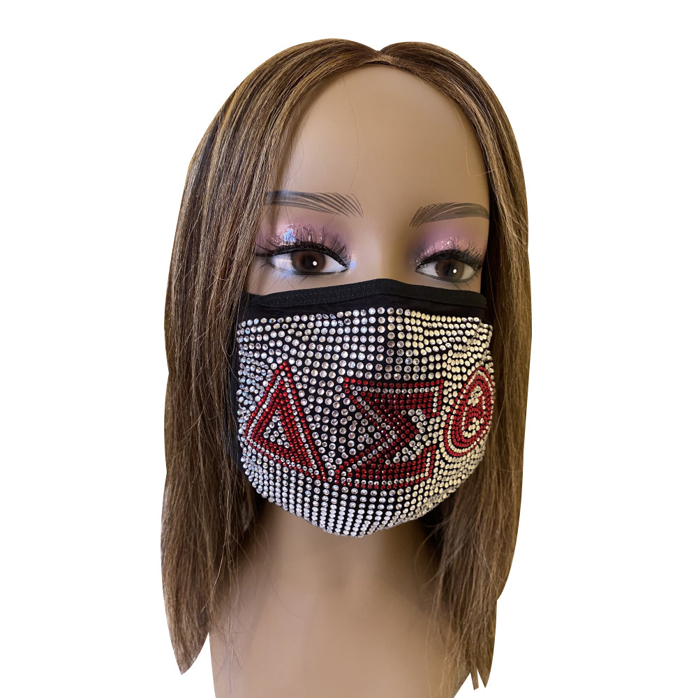 Delta Sigma Theta Rhinestone Bling Face Mask Clear Full