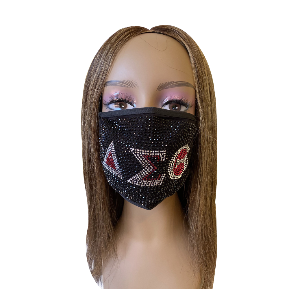 Delta Sigma Theta Black Ice Rhinestone Bling Face Mask