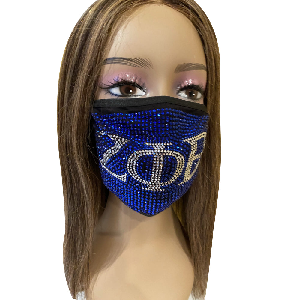 Zeta Phi Beta Full Rhinestone Face Mask Blue