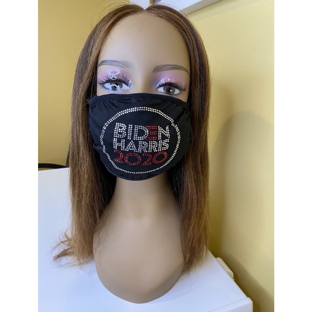 Biden Harris 2020 Rhinestone Bling Face Mask with Filter Pocket Red