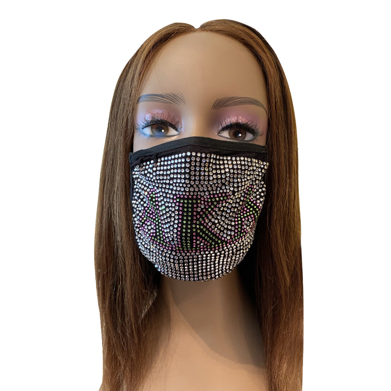 Alpha Kappa Alpha Full Rhinestone Bling Face Mask Clear