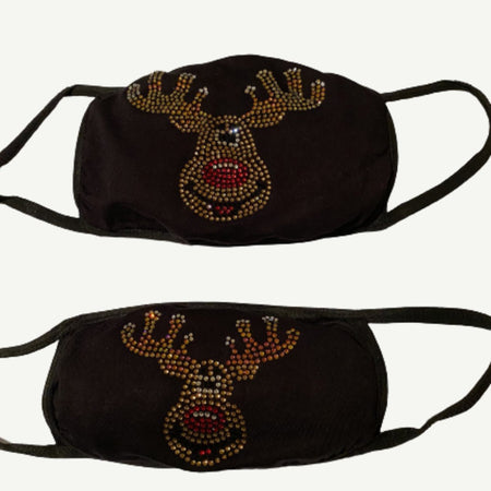 Mommy and Me Bling Face Mask Set Rudolph | Simply For Us