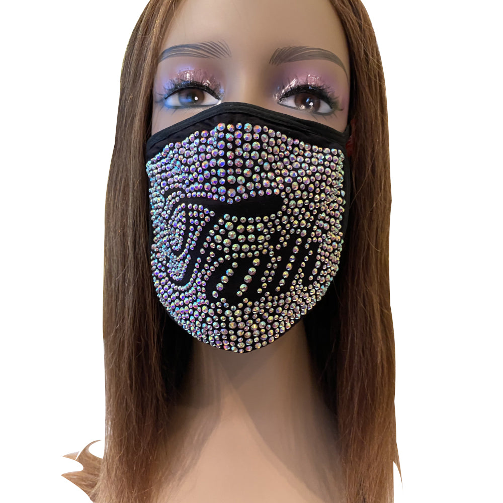 Faith AB Color Full Rhinestone Face Mask