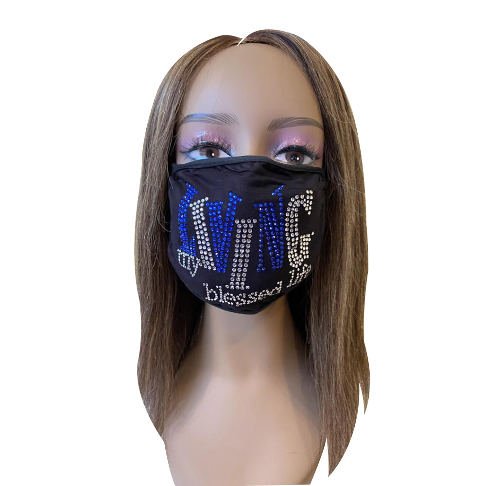 Living My Blessed Life Rhinestone Bling Face Mask Blue