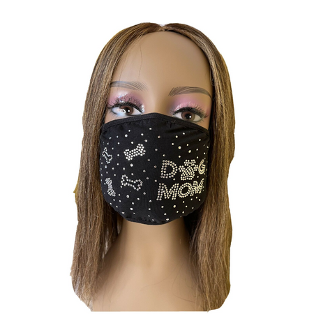 Dog Mom Bling Rhinestone Face Mask