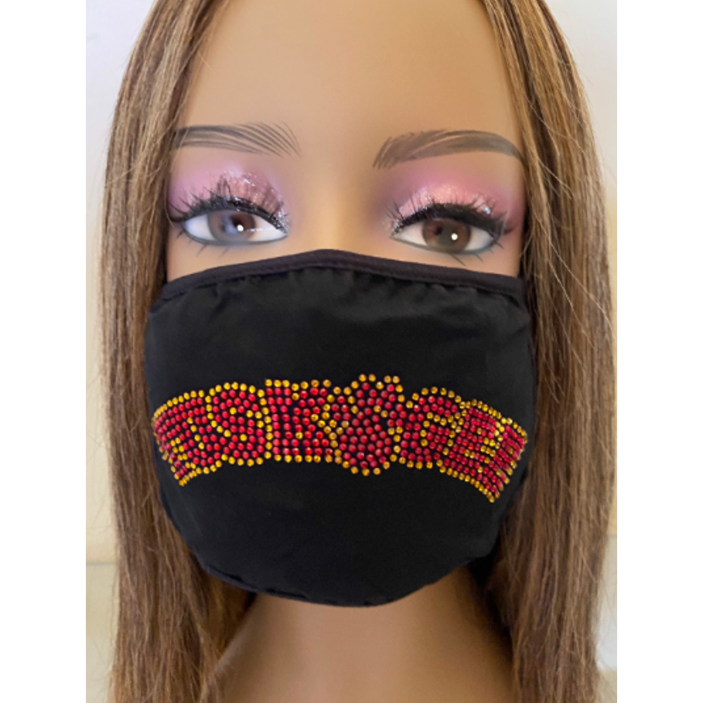 Tuskegee University Bling Face Mask with Filter Pocket and Filter
